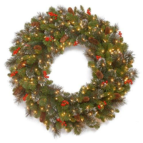 National Tree Crestwood Spruce Wreath with Battery Operated Warm White LED Lights
