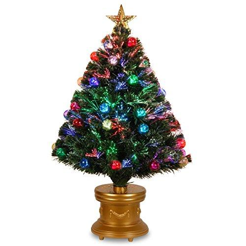 National Tree Fiber Optic Fireworks Tree with Ball Ornaments