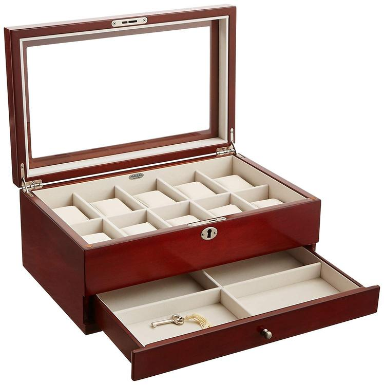 Mele & Co. Christo Glass Top Wooden Watch Box in Walnut Finish