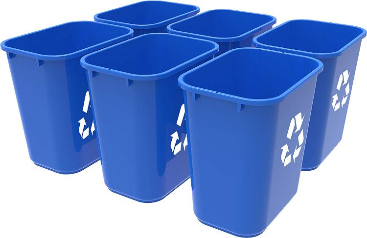 Storex 7 Gallon Recycling bin, 6-Pack