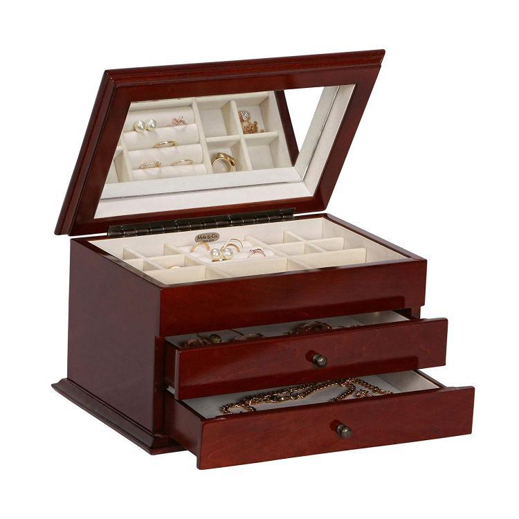 Mele & Co. Brayden Wooden Jewelry Box in Walnut Finish