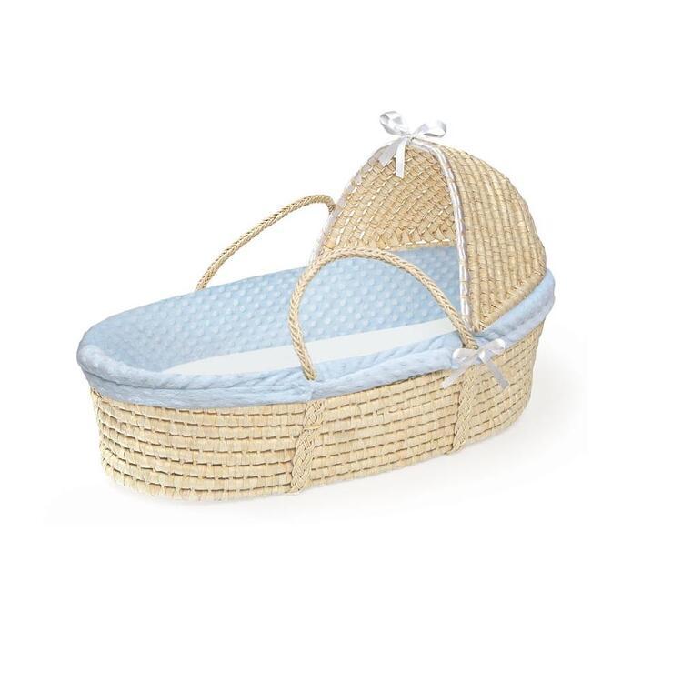 Badger Basket Moses Basket, Feature Hood, Finish Natural, Bedding Blue Dot - Badger Basket - 00900