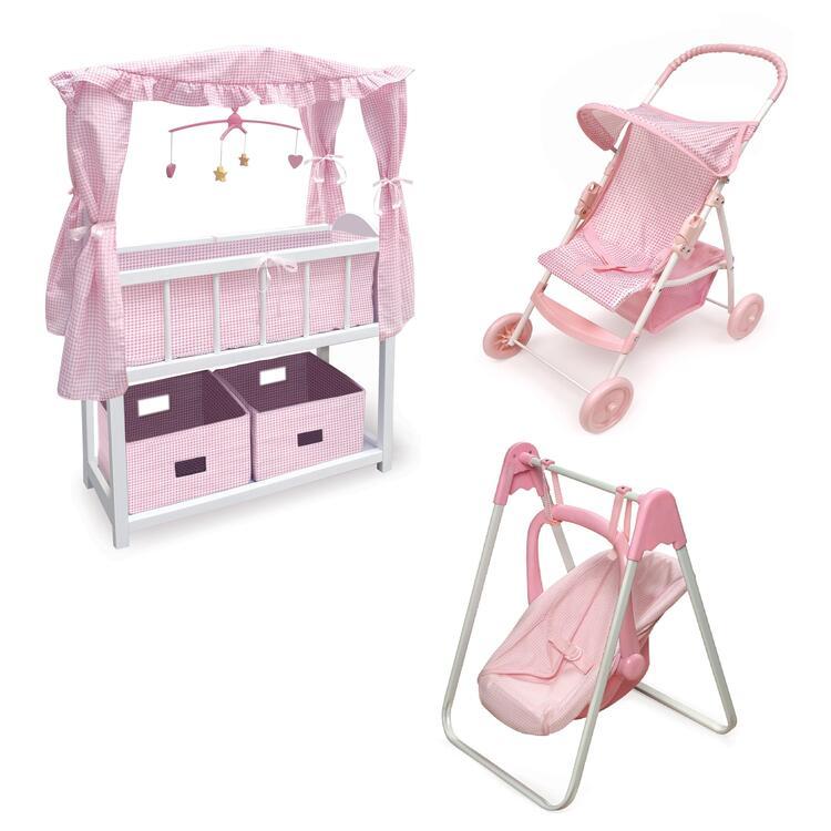 Canopied Doll Crib Furniture Set