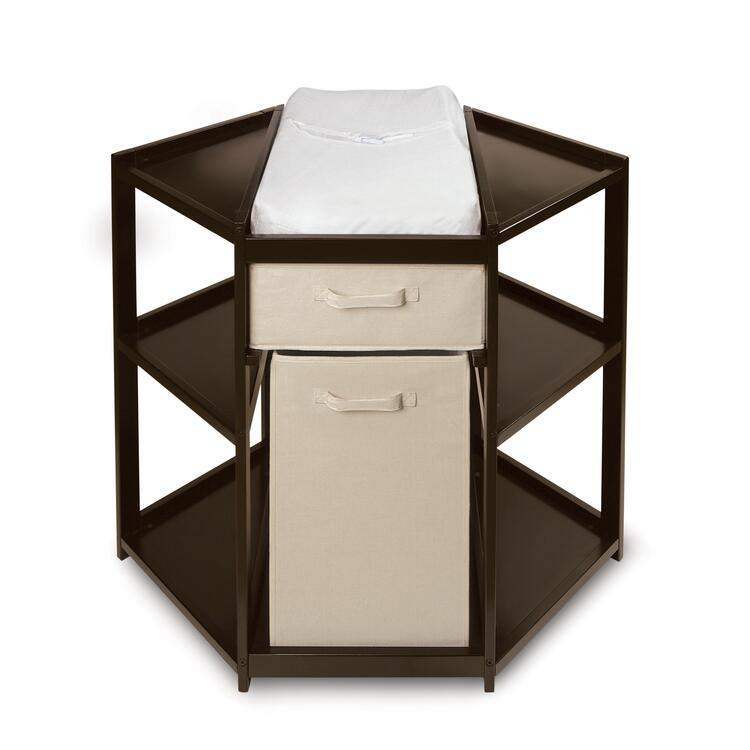 Espresso Diaper Corner Changing Table with Hamper and Basket