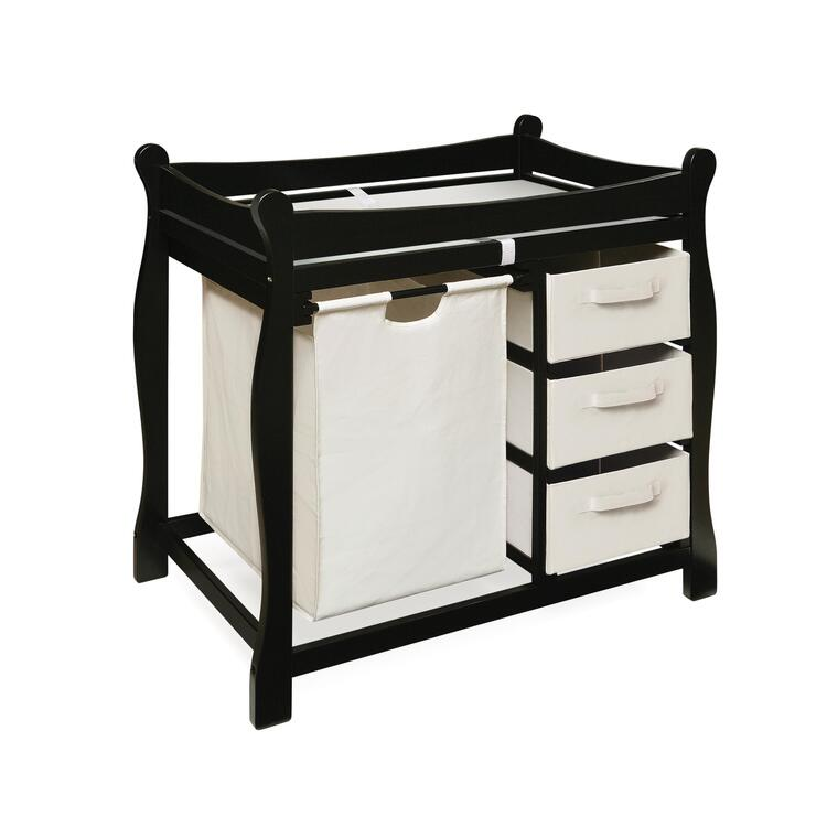 Sleigh Style Changing Table with Hamper & Three Baskets