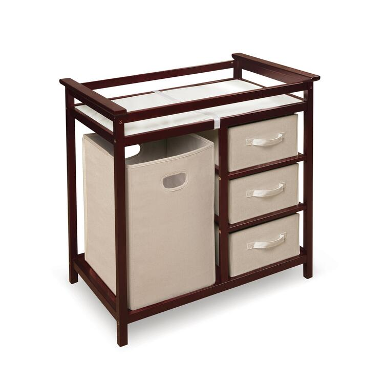Modern Changing Table with Three Baskets & Hamper