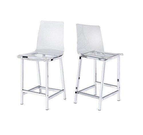 Coaster Acrylic Counter Height Stool with Chrome Base - Set of 2