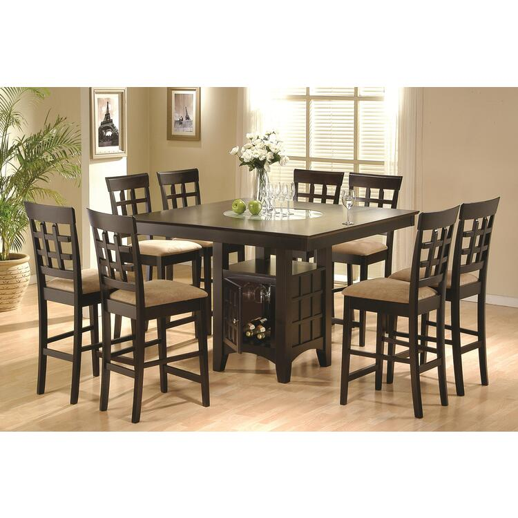 Mix & Match 9 Piece Counter Height Dining Set with Storage Pedestal Base (Cappuccino)