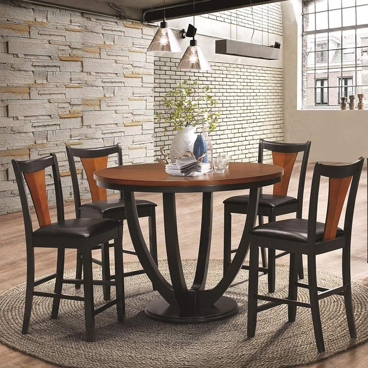 Coaster Boyer Casual Amber and Black Five-Piece Counter-Height Dining Set [Item # 102098-S5]
