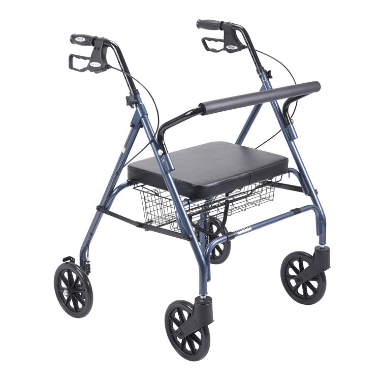 Drive Medical Heavy Duty Bariatric Rollator Rolling Walker with Large Padded Seat [Item # 10215BL-1]