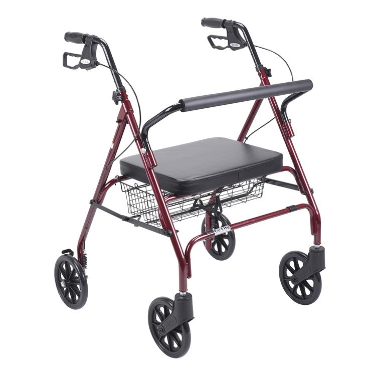 Drive Medical Heavy Duty Bariatric Rollator Rolling Walker with Large Padded Seat [Item # 10215RD-1]