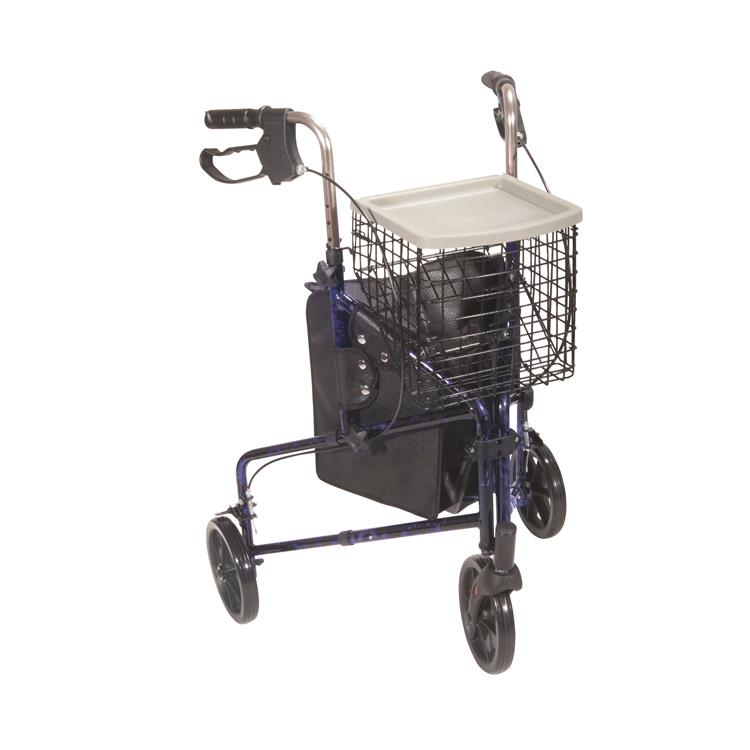 Drive Medical 3 Wheel Rollator Rolling Walker with Basket Tray and Pouch