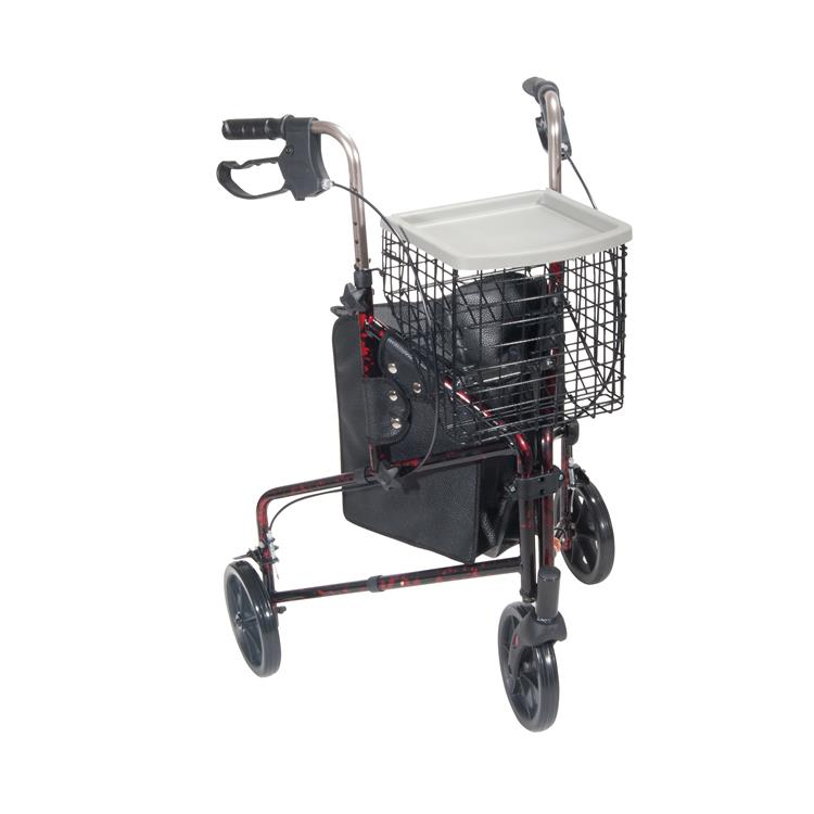 Drive Medical 3 Wheel Rollator Rolling Walker with Basket Tray and Pouch [Item # 10289RD]