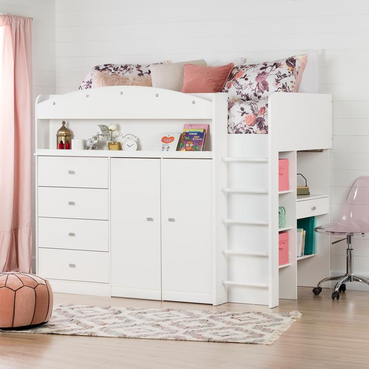 South Shore Tiara Twin Loft Bed with Desk