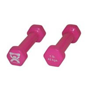 CanDo® vinyl coated dumbbell - 1 lb - Pink, pair