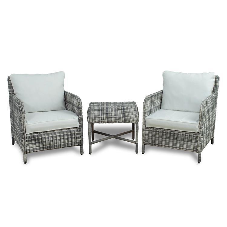 Westin Furniture 3-Piece Rattan Wicker Conversation Set, White