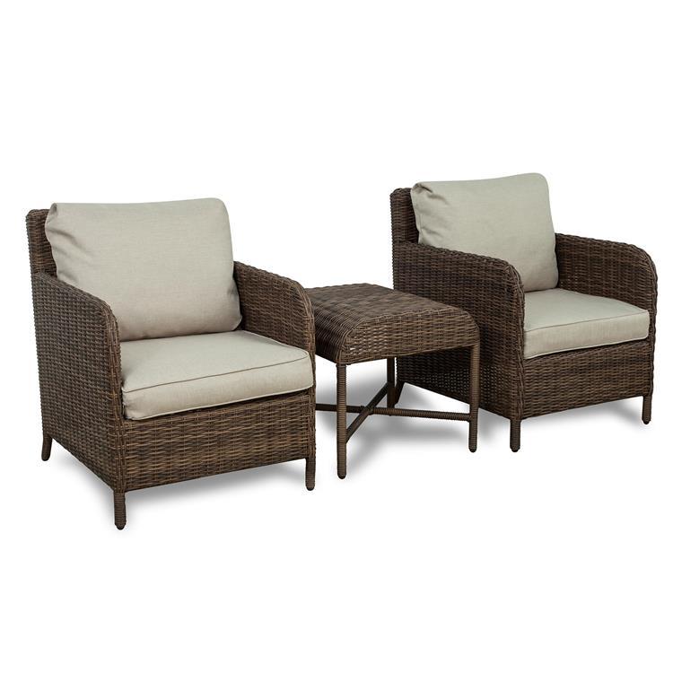Westin Furniture 3-Piece Rattan Wicker Conversation Set, Beige
