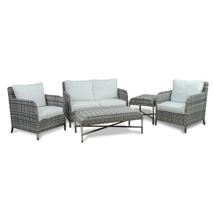 Westin Furniture 5-Piece Rattan Wicker Conversation Set, White