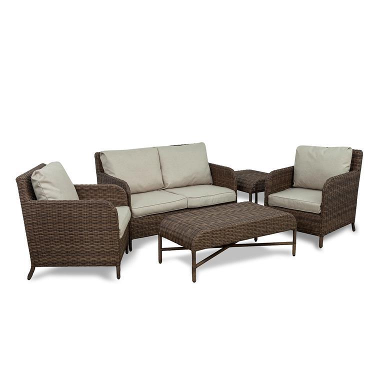 Westin Furniture 5-Piece Rattan Wicker Conversation Set, Beige