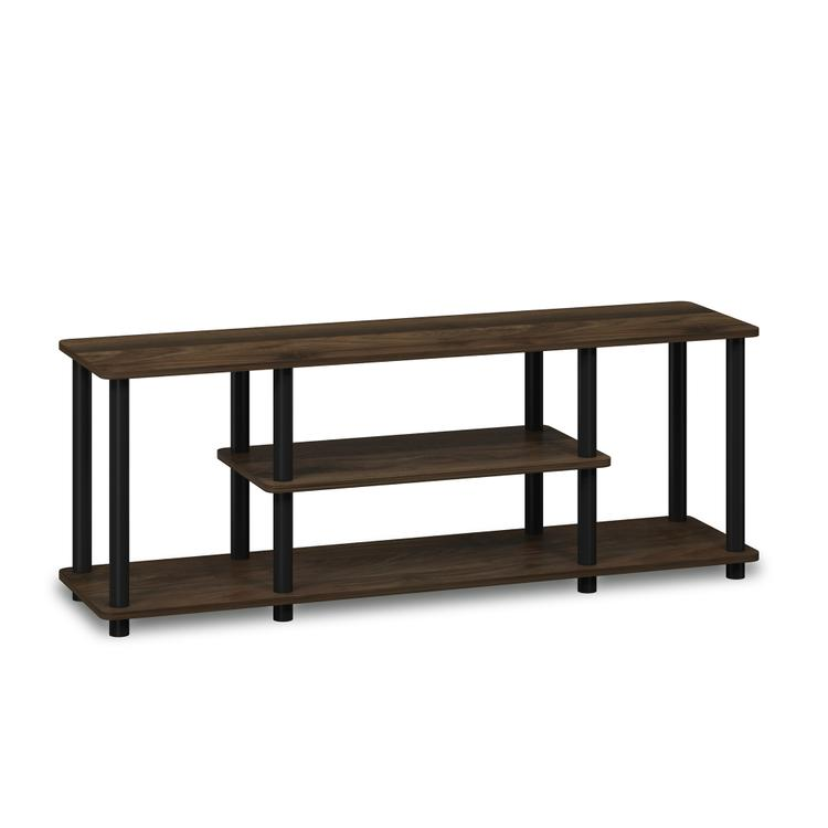 Furinno 12250R1 Turn-N-Tube No Tools 3D 3-Tier Entertainment TV Stands, Columbia Walnut/Black