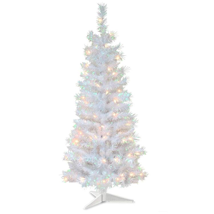 National Tree White Iridescent Tinsel Tree with Clear Lights