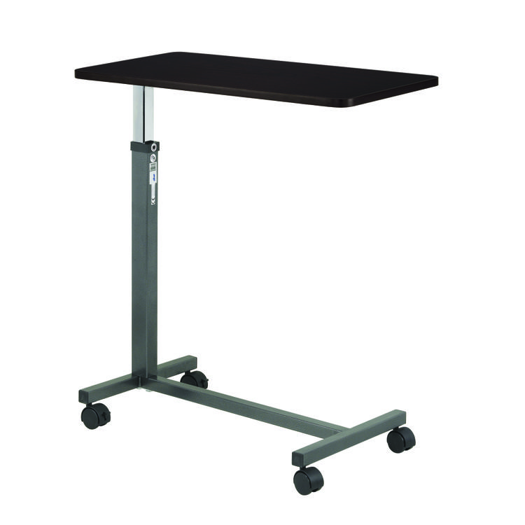 Non Tilt Top Overbed Table, Silver Vein