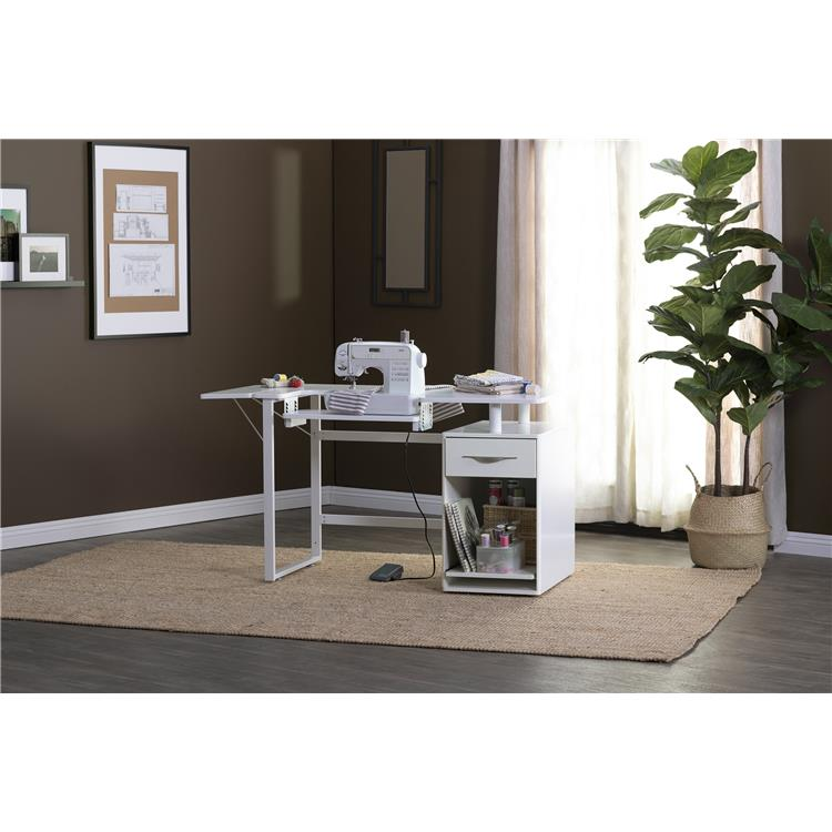 Sew Ready Pro Line Craft, Sewing, & Office Desk with Drawer with Sliding Shelf in Storage Cabinet in White