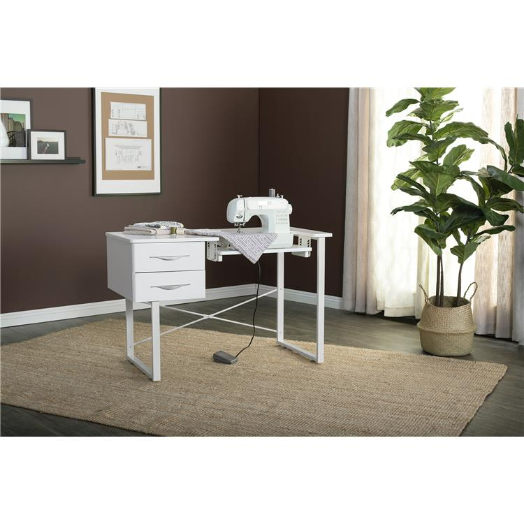 Sew Ready Pro Line Craft, Sewing, and Office Desk with 2 Drawers in White