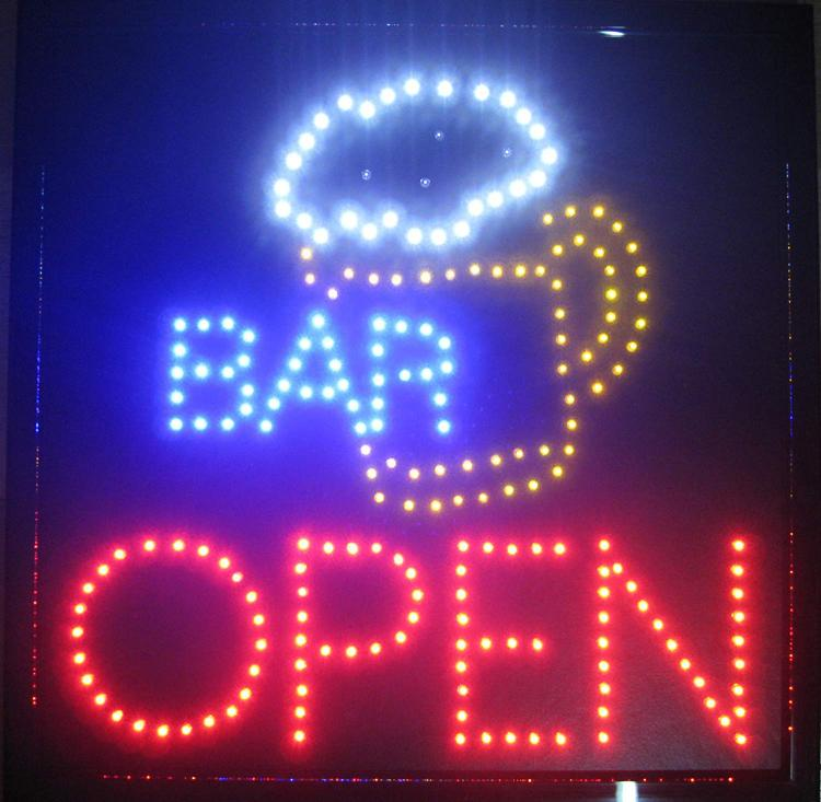 Creative Motion Bar with Beer Mug and OPEN Sign