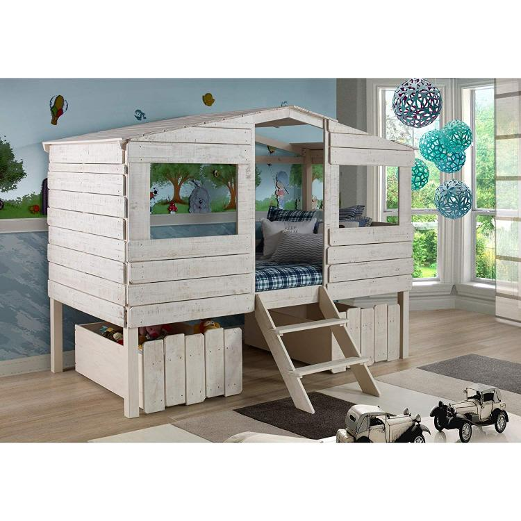 Donco Kids Tree House Low Loft Bed [Item # 1380-TLRS_1381-RSA]