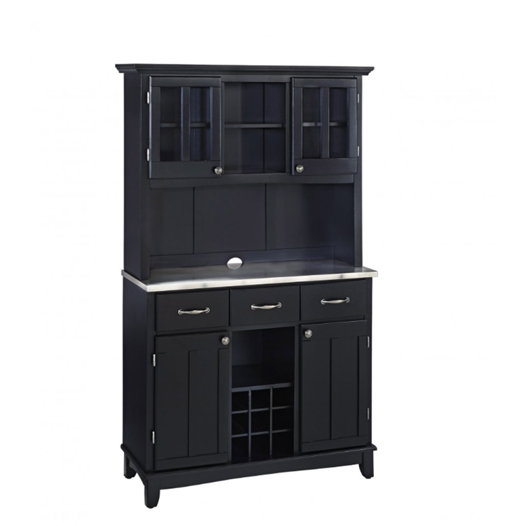 Home Styles Stainless Steel Top On Black Server And Two Door Hutch