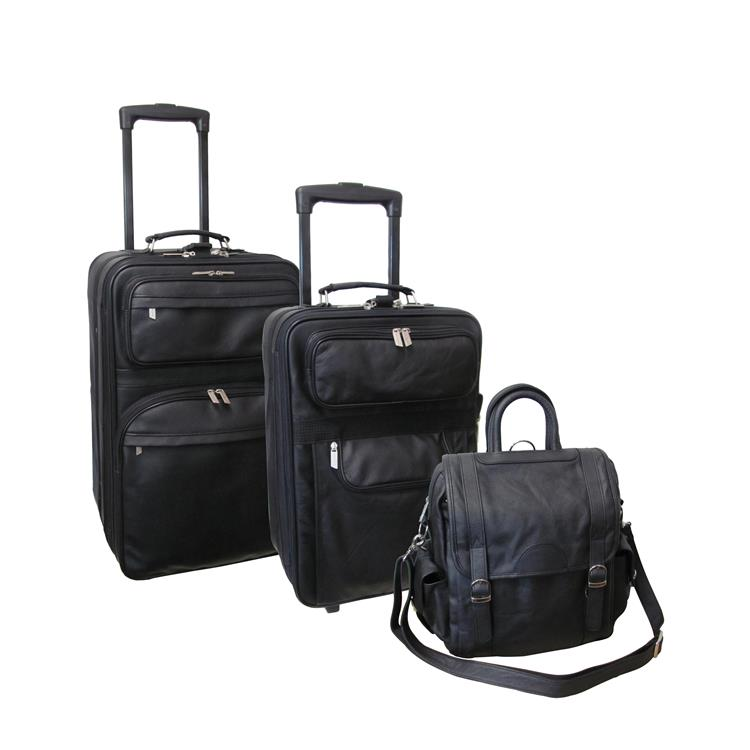 Amerileather Black Leather Luggage 3-piece Collection