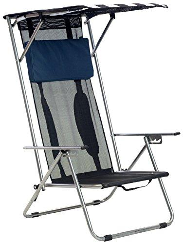 Quik Shade Beach Recliner Shade Chair, Navy and White Fabric, Silver Frame