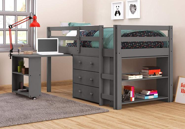 Donco Kids Low Loft With Desk, Chest & Bookcase [Item # 760-TDGA]