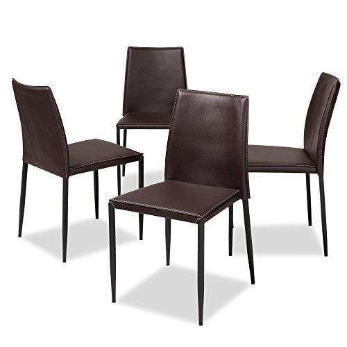 Baxton Studio Pascha Modern and Contemporary Brown Faux Leather Upholstered Dining Chair