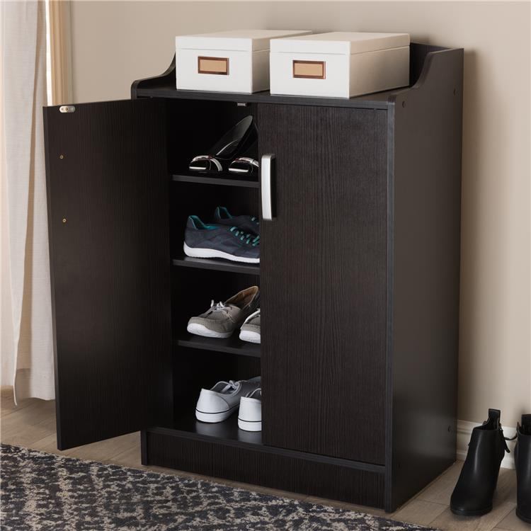 Baxton Studio Verdell Modern and Contemporary Wenge Brown Finished Shoe Cabinet