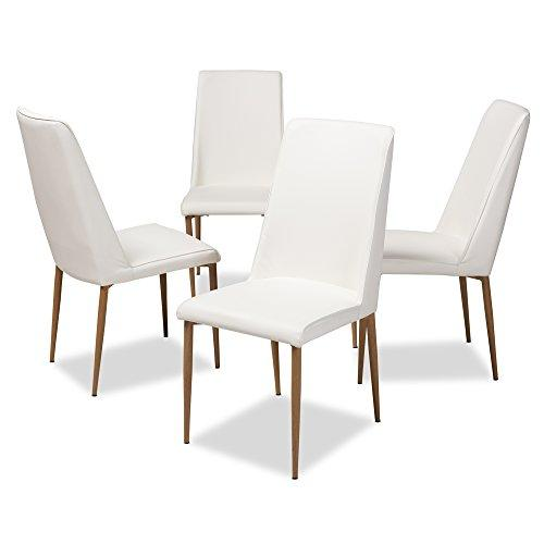 Baxton Studio Chandelle Modern and Contemporary White Faux Leather Upholstered Dining Chair