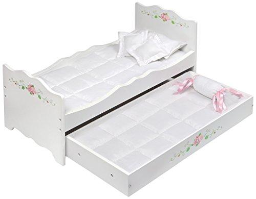 Badger Basket Doll Bed with Bedding and Free Personalization Kit - White Rose