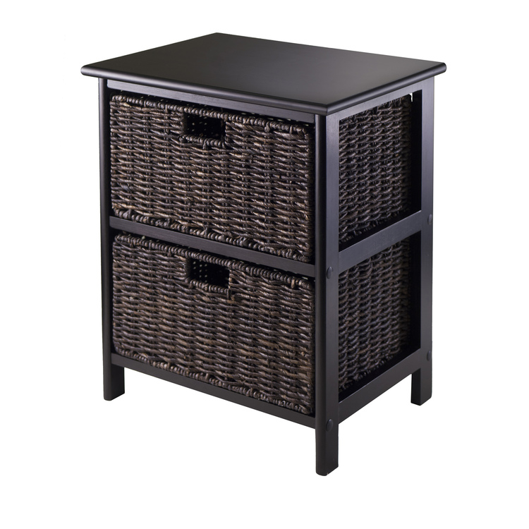 Winsome Wood Omaha Storage Rack with 2 Foldable Baskets
