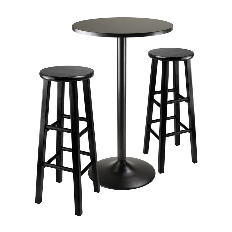 Winsome Wood Obsidian 3 Piece Round Black Pub Table Set