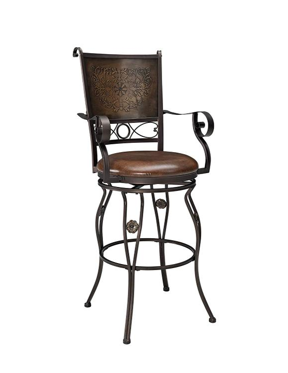 Powell Big and Tall Stamped Back Barstool with Arms