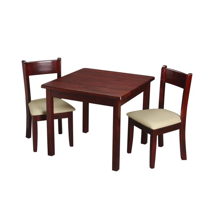 Children's Square Table with 2 matching Off White Upholstered Chairs