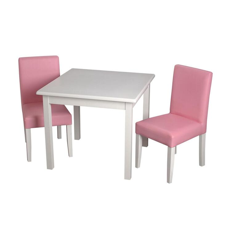 Children's Square White Table with 2 Upholstered Chairs