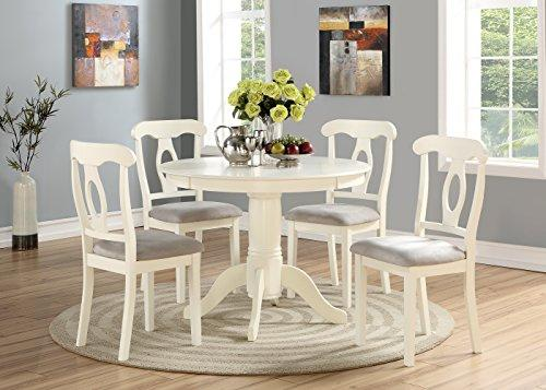 Angel Line 5-piece Lindsey Dining Set, 1 Round Table and 4 Chairs, White w/ Gray Cushion [Item # 23511-21]