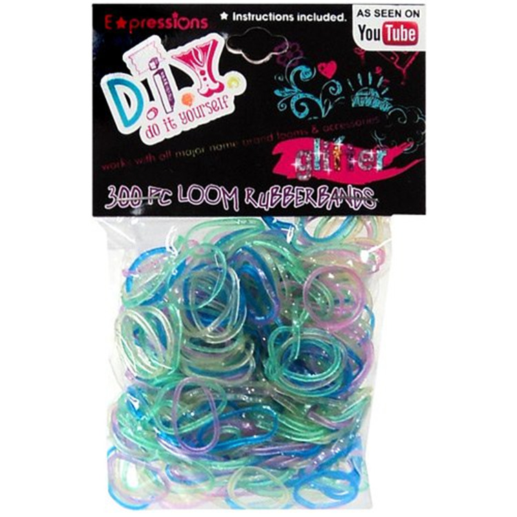 Expressions Girl / D.I.Y. 300-piece Glitter Latex-free Rubber Band Bracelet Loom Refill Pack