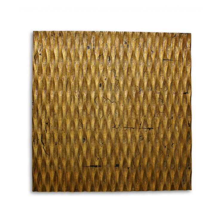 HomeRoots Decor 1-inch x 24-inch x 24-inch Gold, Metallic Ridge - Wall Art