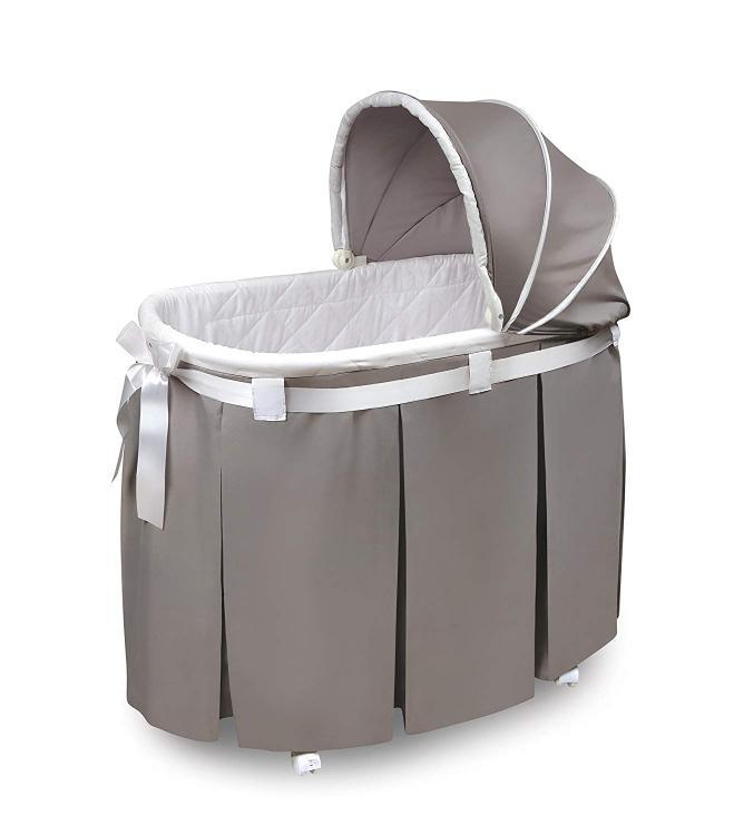 Badger Basket Wishes Oval Bassinet - Full Length Skirt - Gray Bedding
