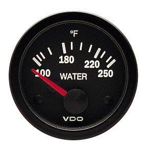 VDO Vision Black 250°F Water Temperature Gauge - Use with US Sender - 12V