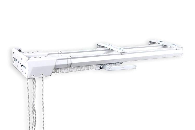 Rod Desyne Heavy Duty Double Traverse Rod - One Way Cord Left 84-156 inch - White