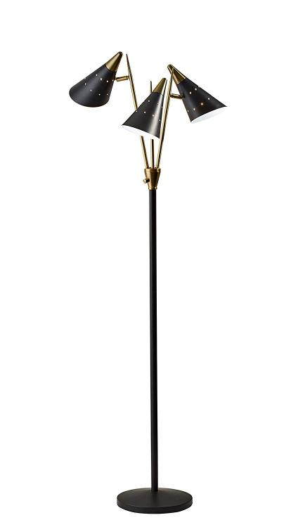 Adesso Nadine 3-Arm Floor Lamp- Black